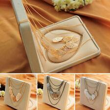 Women Charm Jewelry Gold Plated Leaf Long Sweater Chain  Choker Pendant