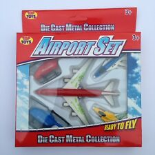 Die Cast Metal & Plastic Airport Set Planes Helicopters Toy