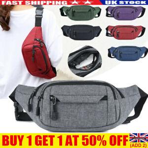 Men Women Canvas Waist Bum Bag Fanny Pack Travel Money Belt Pouch Wallet UK