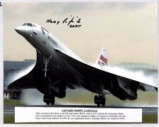 HH322 1980s GB CONCORDE British Airways PHOTOGRAPH Signed Pilot *Harry Linfield*