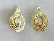 CLIP ON EARRINGS Aurora Borealis crystals, marked Sarah Coventry Pat pend