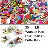 30mm Small Wooden Craft Pegs Mini Clip Metal Spring Tiny Wedding Decor Card