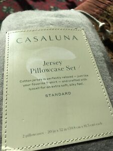 Casaluna Standard Size Gray Jersey Pillowcase Set New