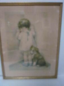 ANTIQUE BESSIE PEASE GUTMANN BABY PRINT IN DISGRACE W/ POEM FRAMED 1937