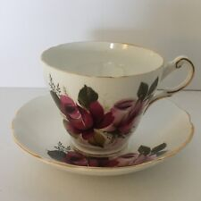 Vintage Regency Bone China 2pc tea set~Cup and Saucer~Pink and Dark Red Roses