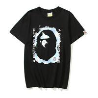 A Bathing Ape Head T-shirt Bape Men/Women Black Round Collar Short Sleeves Tee