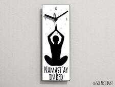 Namast'ay In Bed - White Funny Wall Clock