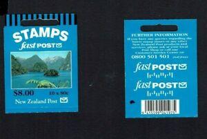 New Zealand: 1999 $8 Fast Post booklet, 80c (Doubtful Sound) x 10 W60b(z)