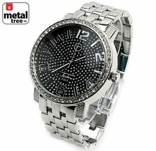 Fashion Luxury Hip Hop Iced Out Silver Plated Metal Band Men's Watches 7176 SLBK