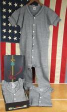 Vintage 1940s Utica Knit Cotton Union Suits 4 Nos w/Box Blk/Wht Stripe Underwear
