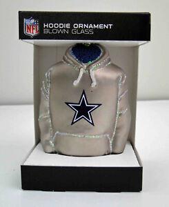 NFL Football Dallas Cowboys Hoodie Christmas Blown Glass Ornament NEW