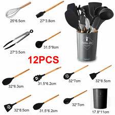 12Pcs Silicone Kitchenware Non-Stick Pan Heat Resistant Kitchen Utensils Set Kit