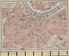 1925 GERMAN MAP ~ DRESDEN CITY PLAN ENVIRONS ELBE ~ GARDENS MARKET CHURCHES POST