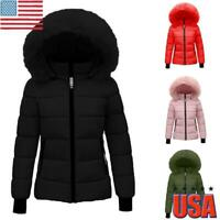 Womens Winter Quilted Coat Puffer Ladies Fur Collar Hooded Jackets Parka Outwear