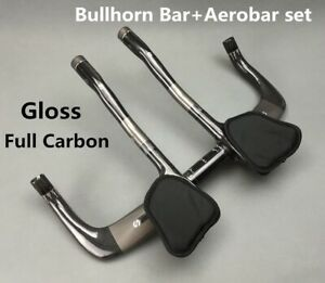 Full Carbon TT Bullhorn Bar 31.8*420 Trial Triathlon Handlebar Aerobar Gloss Set
