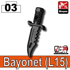 Army Knife L15 (W95) Combat knife bayonet  compatible with toy brick minifigures