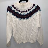 Vintage Cable Knit Mock Neck Sweater Womens Size Large Fair Isle Hand Loomed Y2k