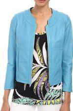 Just Cavalli Women Crop Jacket Aqua Blue Size 12 Faux-Leather Full-Zip $149- 067