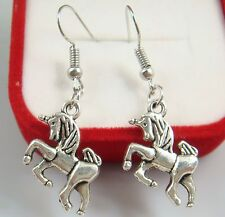 Simple Pageant Lady Earrings Hook gt 925 Silver Plated - 1.6'' Unicorn Horse