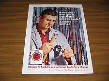 1962 Print Ad Lucky Strike Cigarettes Luckies Man Checks  Fishing Rod & Smokes