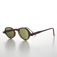 Small Round Vintage Spectacle Vintage Sunglass Brown / Green Lens - Oscar