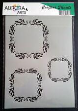 Stencil by Aurora Arts A4 Filigree frame set 190mic Mylar craft stencil 193