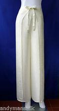 Trousers Thai Silk Palazzo Wrap Flared Leg Fisherman Ladies Womens Cream Pants