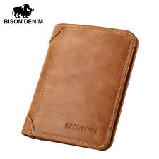 BISON DENIM Mens Wallet Card Holder Wallet Genuine Leather Retro Brown Bifold