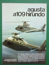 11/1973 PUB HELICOPTERE AGUSTA A109 HUBSCHRAUBER HELICOPTER ORIGINAL FRENCH AD
