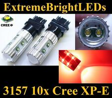 TWO Brilliant RED 50W 3156 3157 10x Cree XP-E Turn Signal Tail Brake Stop Lights