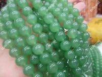 "Genuine 4 6 8 10 12mm Natural Green Jade Round Gemstone Loose Beads 15"" Strand"