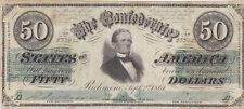 50 DOLLAR FINE BANKNOTE FROM CONFEDERATE STATES/RICHMOND 1864