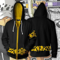 Anime ONE PIECE Trafalgar Law Zipper Hoodie Jacket Sweatshirt Coat Cosplay