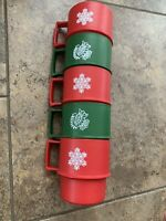 Vintage Tupperware Red and Green Christmas Stack-able Coffee Cups Set of 5