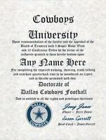 DALLAS COWBOYS NFL FAN  ~ CERTIFICATE ~ DIPLOMA ~MAN CAVE ~ OFFICE GREAT GIFT