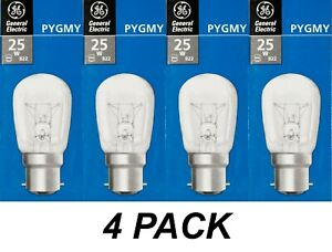4 x 25W Clear Pilot Light Globes Bulbs Lamps B22 Bayonet BC - GE Pygmy