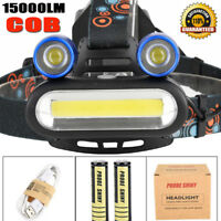 15000LM 2x T6 LED +COB USB Rechargeable 18650 Headlamp Head Light Torch Hot Kits