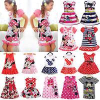 Summer Girls Kids Baby Princess Dress Mickey Minnie Mouse Cartoon Party Dresses