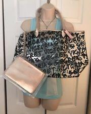 Victoria's Secret Duo Graffiti Logo Tote Bag & Bonus Cosmetic  Bag NEW