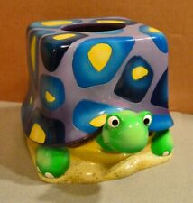 Turtle Design Square Tissue Box Cover Ceramic Facial Paper Holder