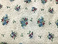 "Cotton Flannel Fabric 2 Yards 42"" Wide Blue and Pink Floral Polka Dot NOS"