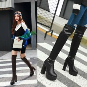Women's New Knee High Combat Military Boots  Chunky Heel Platform Pull-on Shoes