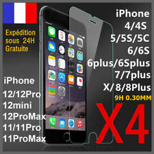 Verre trempé iPhone 8 7 6 12 Mini 11 Pro XR X MAX SE vitre protection film écran