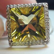 BIG!RARE NATURAL 19.0ct OURO VERDE QUARTZ,WHITE TOPAZ 9K SOLID YELLOW GOLD RING.