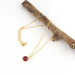 For Girls Wear Round Shape Ruby Quartz Yellow Gold Plated Pendant Chain Necklace