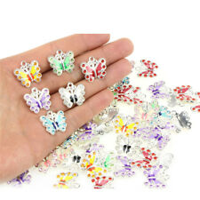 7PCS/Bag Enamel Animal Butterfly Pendant Charms Jewelry Findings DIY Necklace  Z