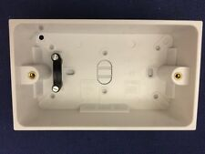 Double Twin Surface Socket Back Box Pattress 47mm White