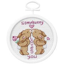 Cross Stitch Mini Kit ~ Janlynn Beginner Somebunny Loves You w/Frame #021-1042