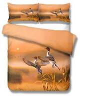 Bird Yellow Reed 3D Quilt Duvet Doona Cover Set Single Double Queen King Print