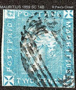 MAURITIUS 1859 SC 14B 2p QUEEN VICTORIA BLUE W/GRAYISH PAPER UNG APEX CERT FCNX